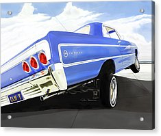 64 Impala Lowrider Acrylic Print by Motorvate Studio