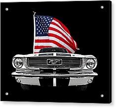 66 Mustang With U.s. Flag On Black Acrylic Print