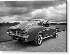 67 Fastback Mustang In Black And White Acrylic Print by Gill Billington