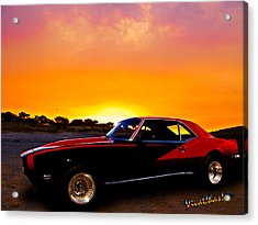 69 Camaro Up At Rocky Ridge For Sunset Acrylic Print