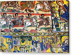 Ancient Orthodox Church Interior Painted Walls In Gondar Ethiopi Acrylic Print