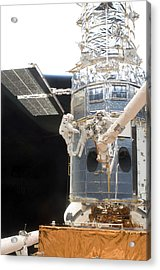 Astronauts Working On The Hubble Space Acrylic Print by Stocktrek Images