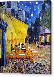 Cafe Terrace At Night Acrylic Print by Vincent Van Gogh