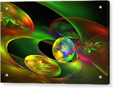 Computer Generated Planet Sphere Abstract Fractal Flame Modern Art Acrylic Print by Keith Webber Jr