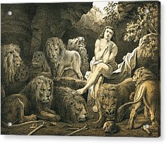 Daniel In The Lion's Den Acrylic Print by English School