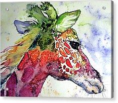 Acrylic Print featuring the painting Giraffe  by Kovacs Anna Brigitta