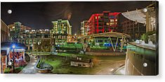 Greenville South Carolina Near Falls Park River Walk At Nigth. Acrylic Print