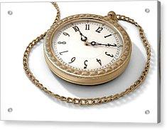 Pocket Watch On Chain Acrylic Print by Allan Swart