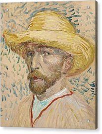 Self Portrait With Straw Hat Acrylic Print by Vincent van Gogh