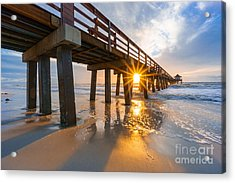 Acrylic Print featuring the photograph Sunset Naples Pier, Florida by Hans- Juergen Leschmann