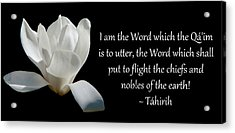 Tahirih The Pure One Acrylic Print by Baha'i Writings As Art