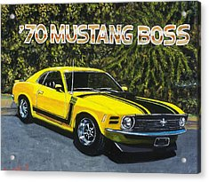 70 Mustang Boss Acrylic Print by Charles Vaughn