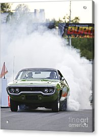 '72 Roadrunner Burn Out Acrylic Print