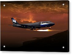 Acrylic Print featuring the digital art 747-400 02 Approach Phog by Mike Ray