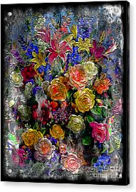 7a Abstract Floral Painting Digital Expressionism Acrylic Print