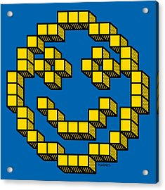 Acrylic Print featuring the digital art 8 Bit Smiley Face by Ron Magnes