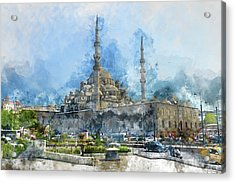 Blue Mosque In Istanbul Turkey Acrylic Print by Brandon Bourdages