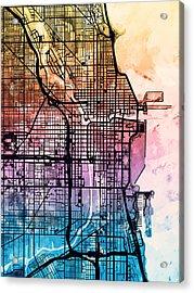 Chicago City Street Map Acrylic Print