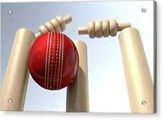 Cricket Ball Hitting Wickets Acrylic Print