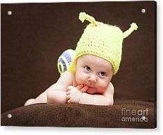 Cute Newborn Portrait Acrylic Print by Gualtiero Boffi
