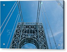 Low Angle View Of A Suspension Bridge Acrylic Print by Panoramic Images