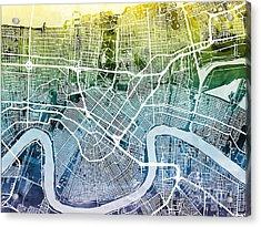New Orleans Street Map Acrylic Print by Michael Tompsett