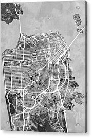 San Francisco City Street Map Acrylic Print by Michael Tompsett