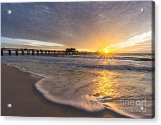 Acrylic Print featuring the photograph Sunset Naples Pier Florida by Hans- Juergen Leschmann