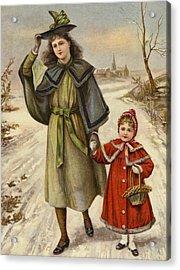 Vintage Christmas Card Acrylic Print by English School