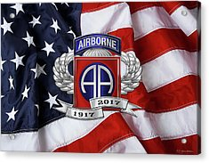 82nd Airborne Division 100th Anniversary Insignia Over American Flag  Acrylic Print