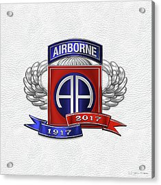 82nd Airborne Division 100th Anniversary Insignia Over White Leather Acrylic Print