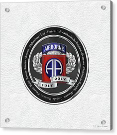 82nd Airborne Division 100th Anniversary Medallion Over White Leather Acrylic Print by Serge Averbukh