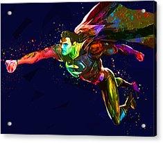 Superman Acrylic Print by Elena Kosvincheva