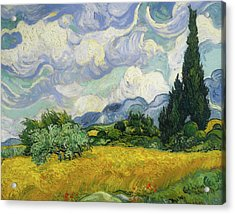 Acrylic Print featuring the painting Wheat Field With Cypresses by Vincent van Gogh