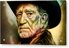Willie Nelson Collection Acrylic Print by Marvin Blaine