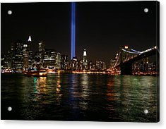 911 Memorial Lighting Acrylic Print by Dennis Curry