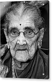 96 Year Old Indian Woman India Day Parade Nyc 2011 Acrylic Print