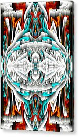 Acrylic Print featuring the digital art 992.042212mirror2ornateredablue-1 by Kris Haas