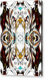 Acrylic Print featuring the digital art 992.042212mirror2ornateredagold-1a-1 by Kris Haas
