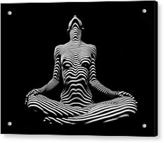 9934-dja Lotus Position In Zebra Stripes  Acrylic Print
