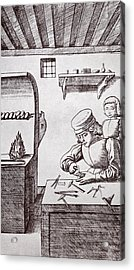 A 15th Century Locksmith Or Goldsmith Acrylic Print