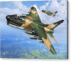 A-7d Corsair II Acrylic Print by Stu Shepherd