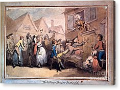 A Angry Mob Of Villagers Protesting Outside The House Of A Doctor Acrylic Print by MotionAge Designs