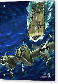 A B52 Bomber Takes Off From An Aircraft Carrier Headed For Japan In World War II Acrylic Print by Wilf Hardy