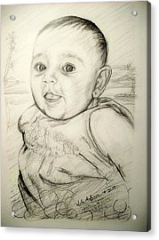 A Baby Smile Acrylic Print by Wale Adeoye