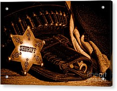 A Badge And A Weapon - Sepia Acrylic Print by Olivier Le Queinec