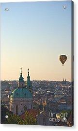 A Balloon Over Prague Acrylic Print by Hideaki Sakurai