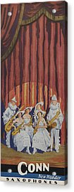 A Band On Stage Playing Charles Gerard Conn Saxophones Acrylic Print by American School