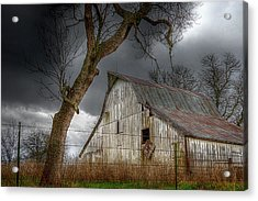 A Barn In The Storm 2 Acrylic Print by Karen McKenzie McAdoo