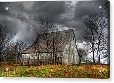A Barn In The Storm 3 Acrylic Print by Karen McKenzie McAdoo